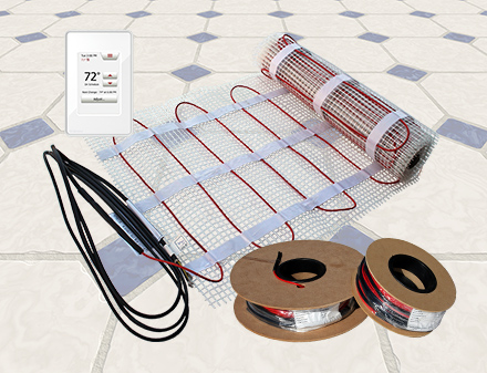 ComfortTile floor heating cable, mat and thermostat.
