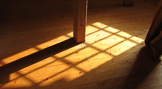 Hardwood floor with warm sunlight.